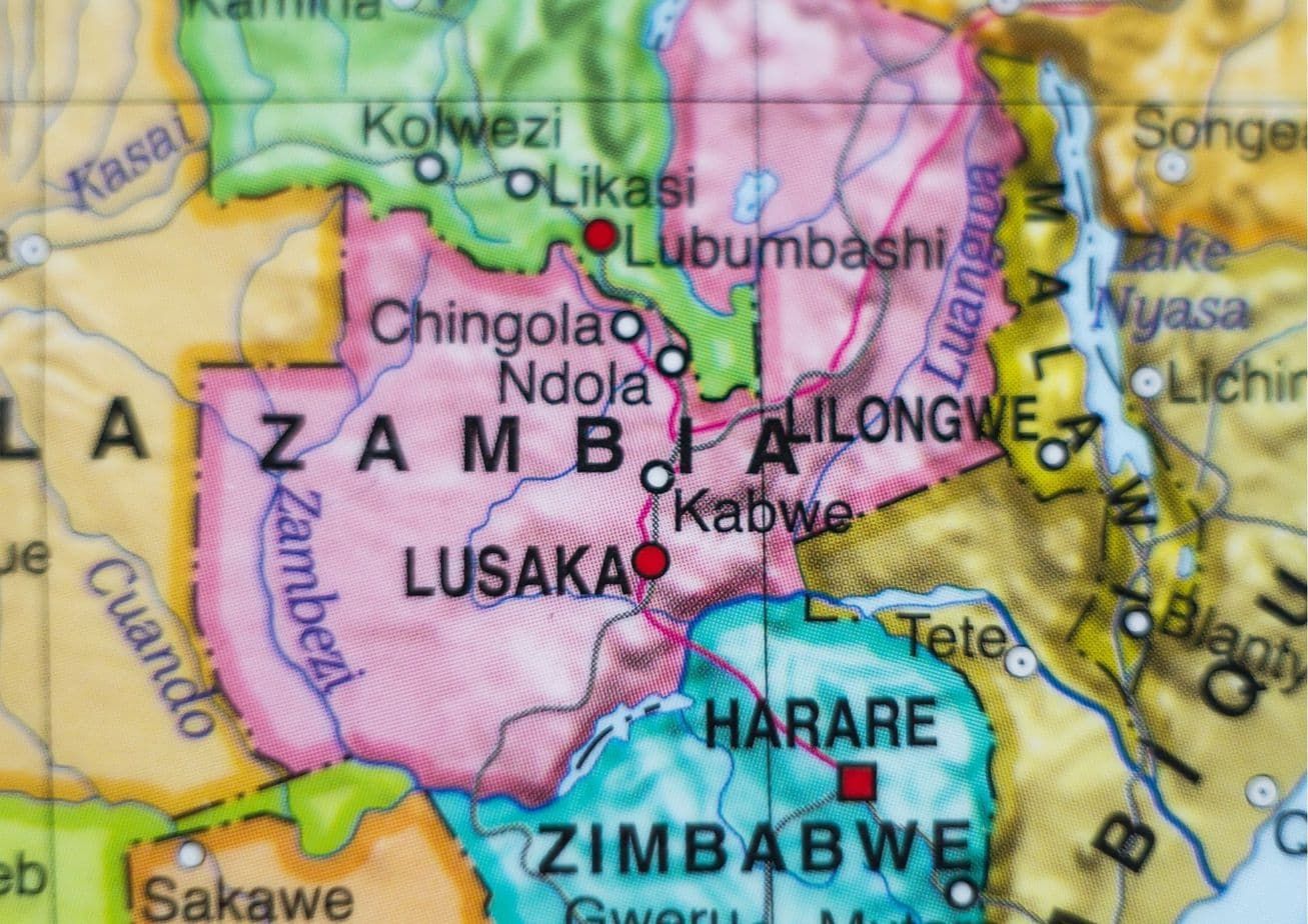 Where is Zambia located on the map